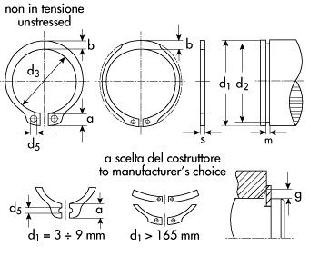 Fermi Anelli radiali in acciaio DIN6799 per perni da 4 mm fino a perni da 18 mm